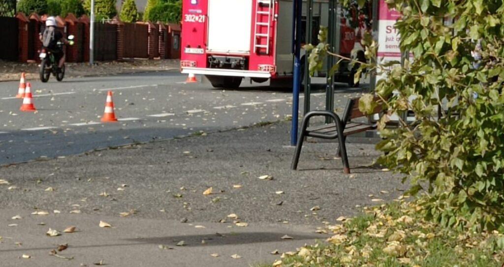 Interwencja służb straży pożarnej na ul. Kruczej