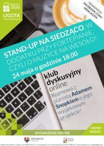 Stand-up na siedząco, w dodatku przy fortepianie, czyli o muzyce na wesoło! Spotkanie z Adamem Snopkiem – Klub dyskusyjny online